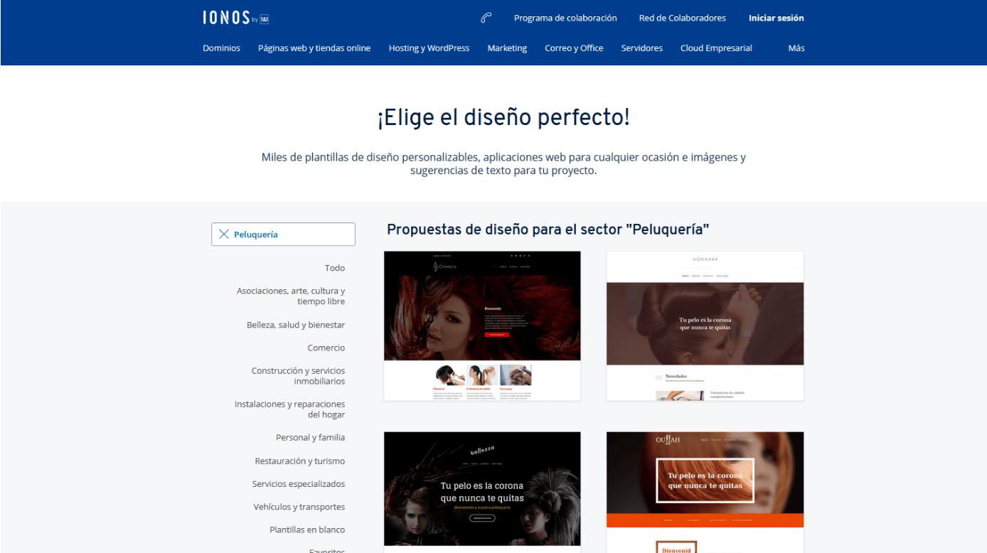 """Plantillas de diseño de IONOS para el sector """"peluquería"""""""