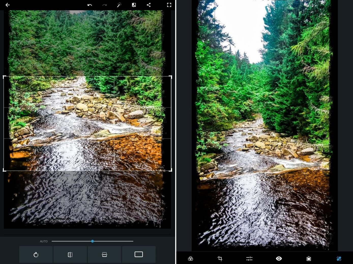 Menú de filtros y efectos de Adobe Photoshop Express