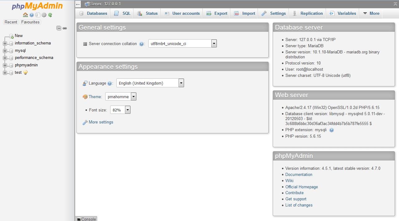 Interfaz de administración de phpMyAdmin