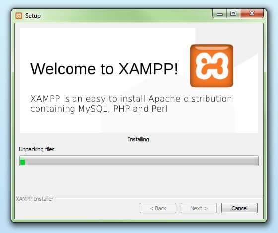 comienzo del proceso de instalación de XAMPP