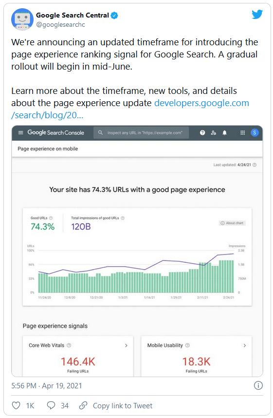 Tweet del equipo de Google sobre Core Web Vitals