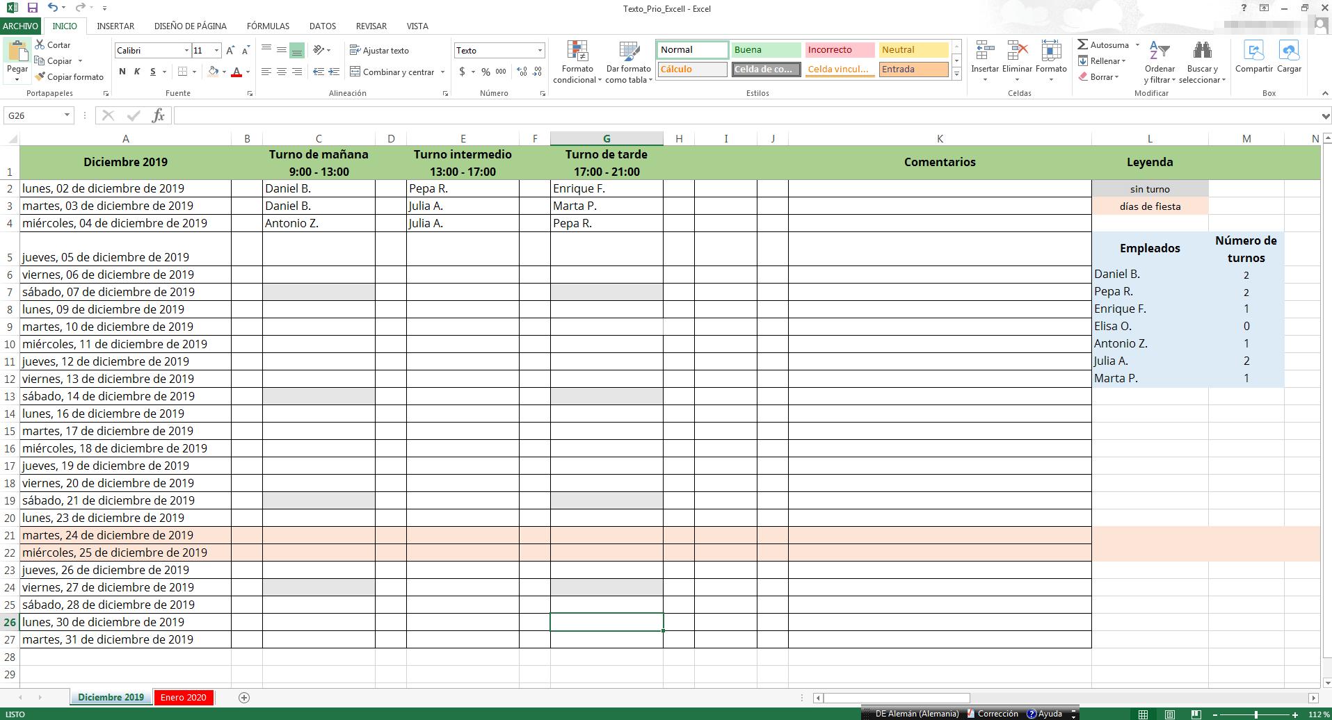Calendario Turnos.Cuadrantes De Turno De Trabajo En Excel Crear Plantilla 1 1 Ionos