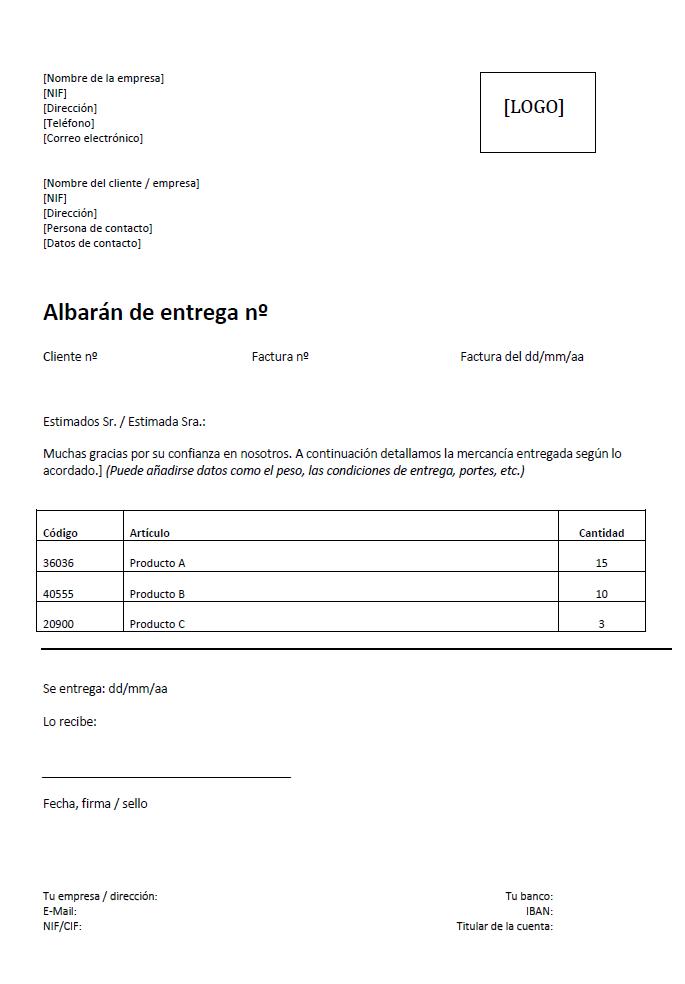Modelo de albarán de entrega: concepto e instrucciones - 1&1