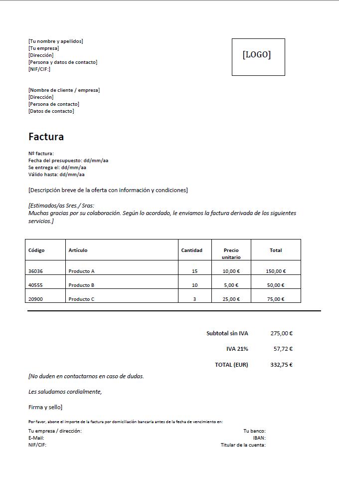 Modelo De Factura La Solución Rápida Y Eficaz 11 Ionos